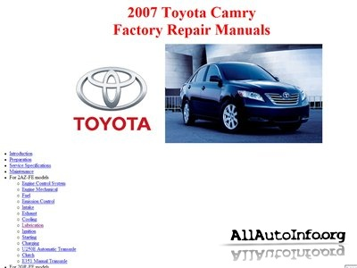 toyota camry factory repair manuals acv40 gsv40 2007 2008. Black Bedroom Furniture Sets. Home Design Ideas