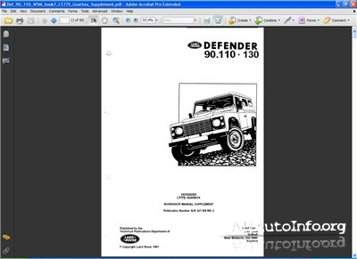 Land Rover Defender 90 110 130 Workshop Manual