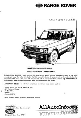 Range Rover Classic 1987-1991 Workshop Manual
