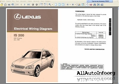 Lexus IS 200, IS 300 1999-2002 Wiring Diagram