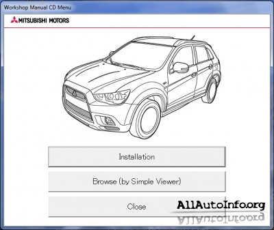 Mitsubishi ASX Workshop Manual CD (2011)