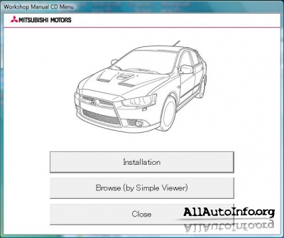 Mitsubishi Lancer X Sportback Workshop Manual CD