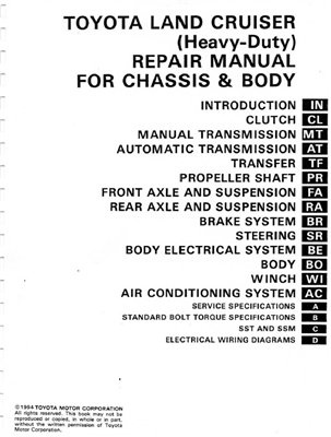 Toyota Land Cruiser 1994 Service Manual