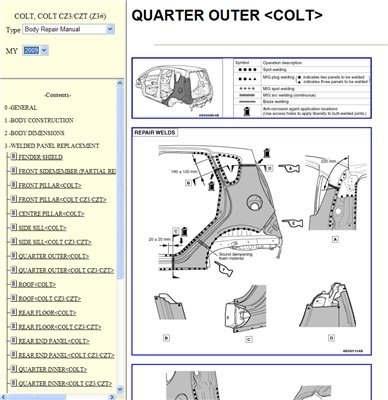 Mitsubishi Colt  Workshop Manual CD (2008-2011)