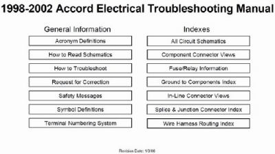 Accord 1998-2002 Electrical Troubleshooting Manual