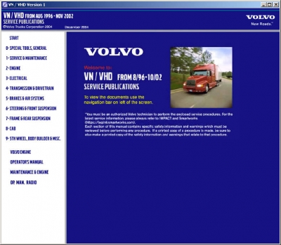 Volvo VN / VHD Models (1996-2004) Service Publications Versions 1,2