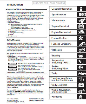 Acura CSX 2006-2009 FD5 Service Manual