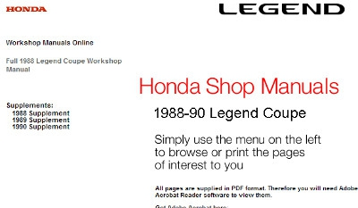 Acura Legend 1988-1990 Service Manual (KA3)